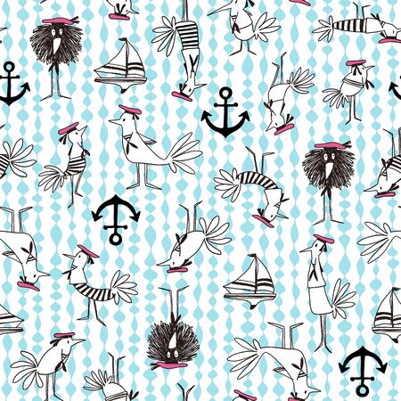 cartoon boat: Comics style Bird pattern