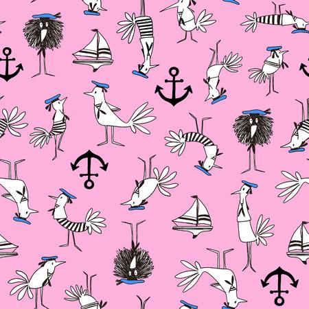bird illustration: Comics style Bird pattern