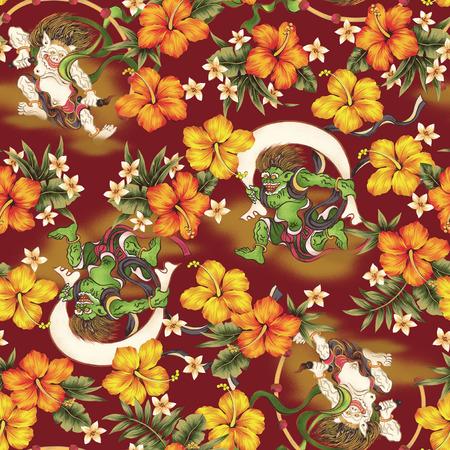 vigorous: Hibiscus and Japanese God pattern Stock Photo