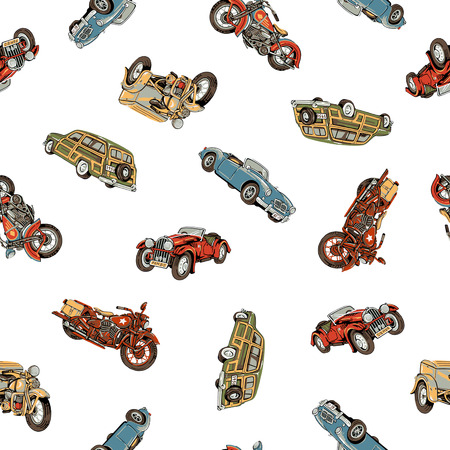 old car: Old car and motorcycle pattern