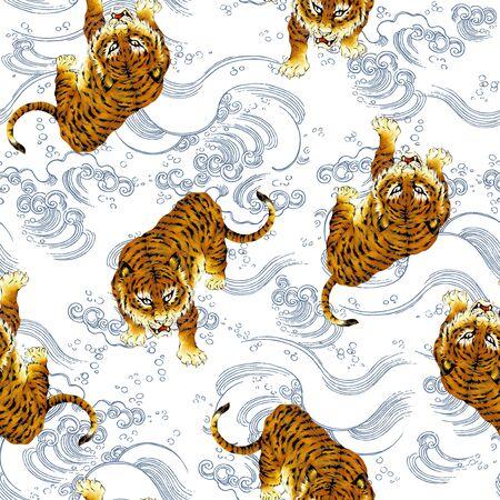 freehand tradition: Tiger illustration pattern