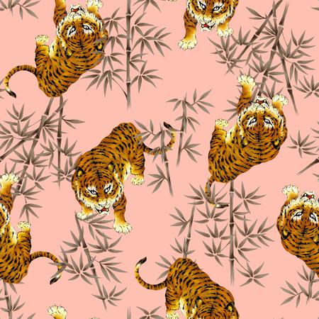 虎イラスト パターン 写真素材