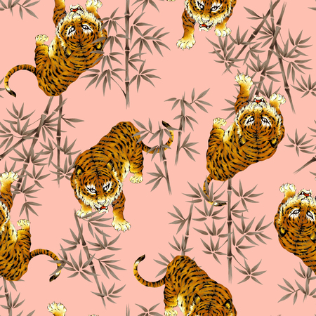 threaten: Tiger illustration pattern