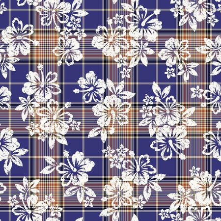 熱帯の花とチェック パターン