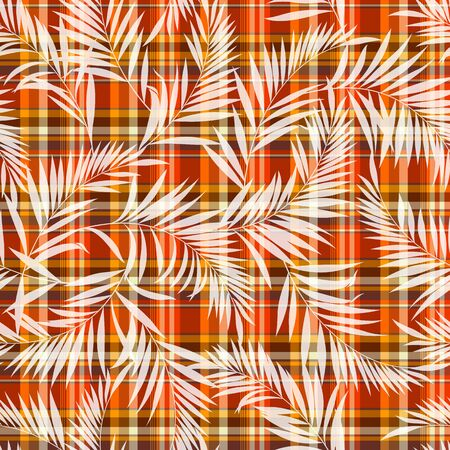 madras: Tropical plant and check pattern Illustration