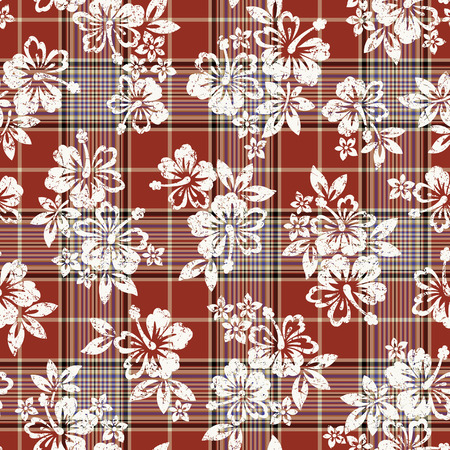 madras: Tropical flower and check pattern