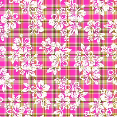 vigorous: Tropical flower and check pattern