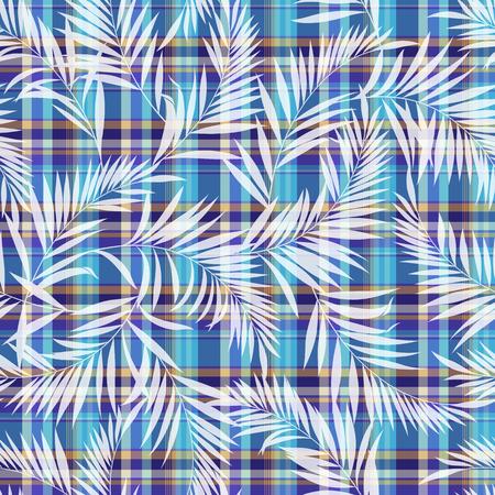 熱帯植物とチェック パターン