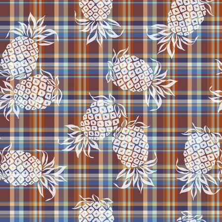 madras: pattern of pineapple Stock Photo