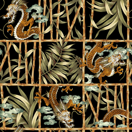 freehand tradition: Dragon jungle pattern