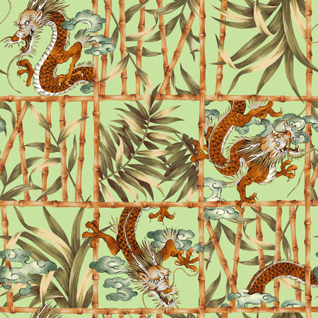 freehand tradition: Dragon jungle illustration pattern