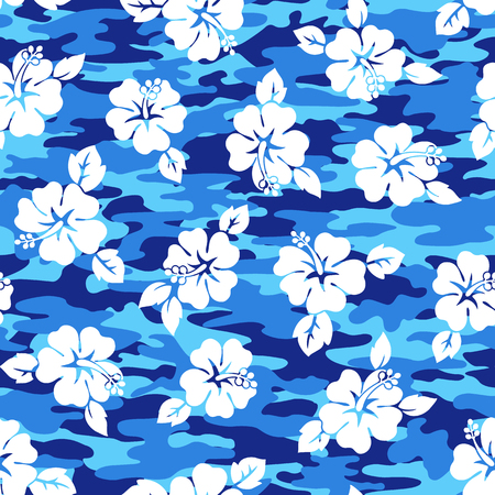 vigorous: Tropical flower and camouflage pattern