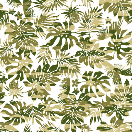 Tropical plants and camouflage pattern