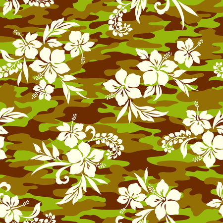 Tropical flower and camouflage pattern