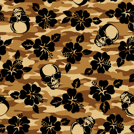 flower and skull camouflage pattern