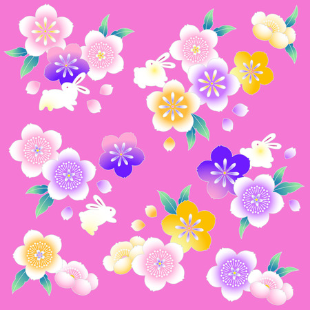 style: Japanese style cherry blossom Illustration