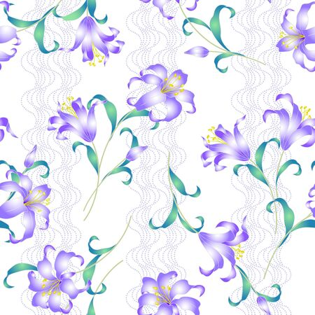 dyeing: Japanese style lily pattern Illustration