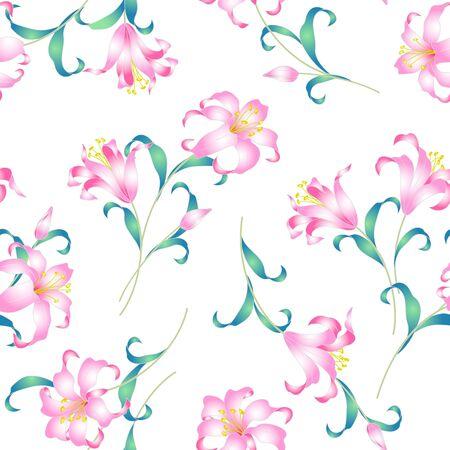 japanese style: Japanese style lily pattern Illustration