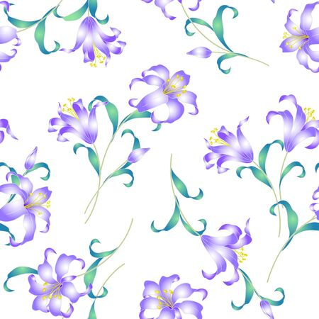 japanese culture: Japanese style lily pattern Illustration