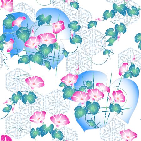 일본식 나팔꽃 무늬 일러스트