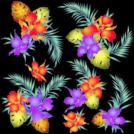 熱帯蘭図  イラスト・ベクター素材