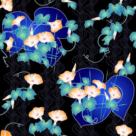 japanese style: Japanese style morning glory pattern Illustration