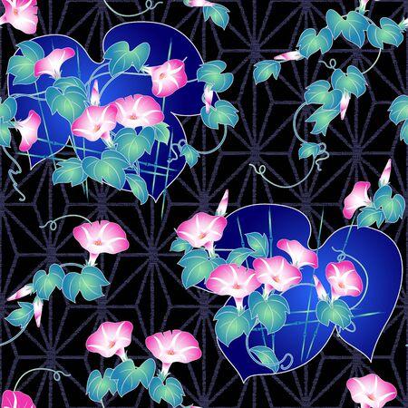 glory: Japanese style morning glory pattern Illustration