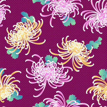 handicrafts: Japanese style Chrysanthemum flower pattern Illustration