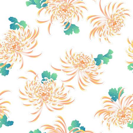 japanese style: Japanese style Chrysanthemum flower pattern Illustration