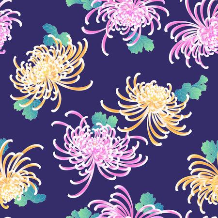 japanese chrysanthemum: Japanese style Chrysanthemum flower pattern Illustration