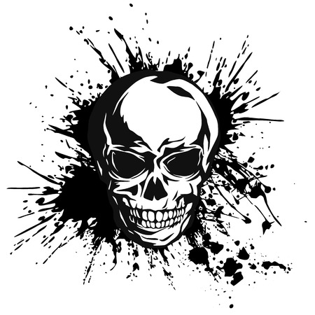 immoral: Skull splatter illustration,