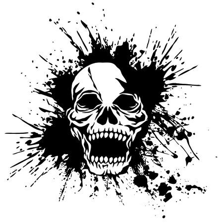 rebellious: Skull splatter illustration,