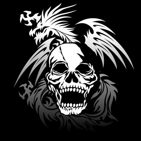 rebellious: Skull dragon illustration,