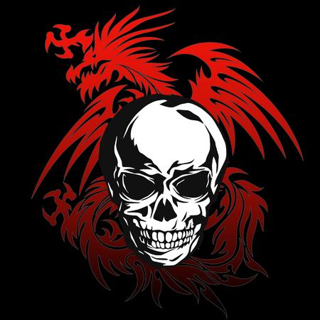 Skull dragon illustration,