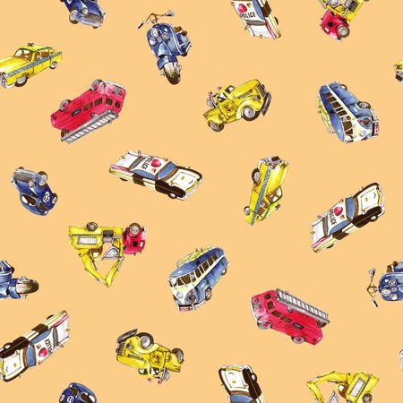 car pattern: Car pattern of the watercolor