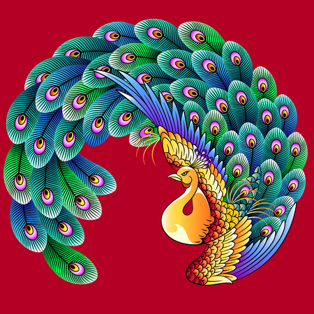 japanese culture: Japanese style peacock Illustration
