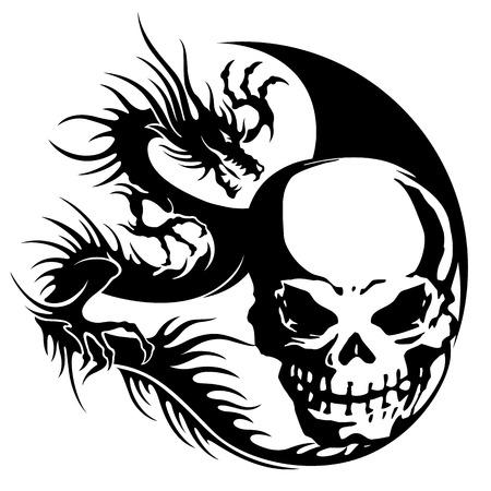 頭蓋骨とドラゴンのイラスト