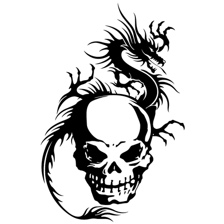 violent: skull and dragon illustration,