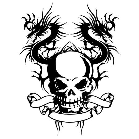 skull and dragon illustration,