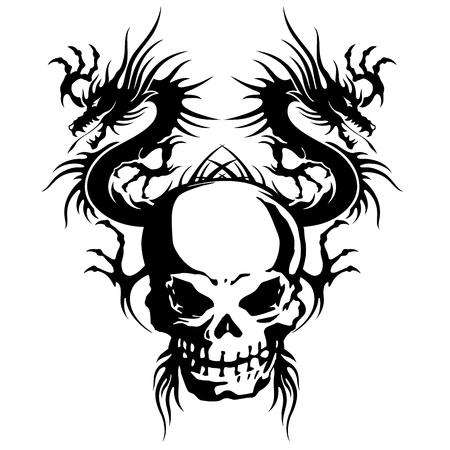 rebellious: skull and dragon illustration,