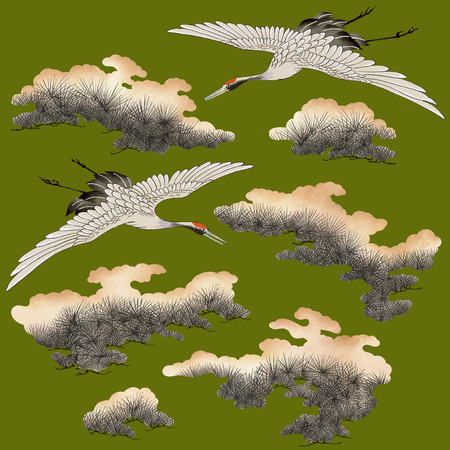 freehand tradition: Japanese style crane