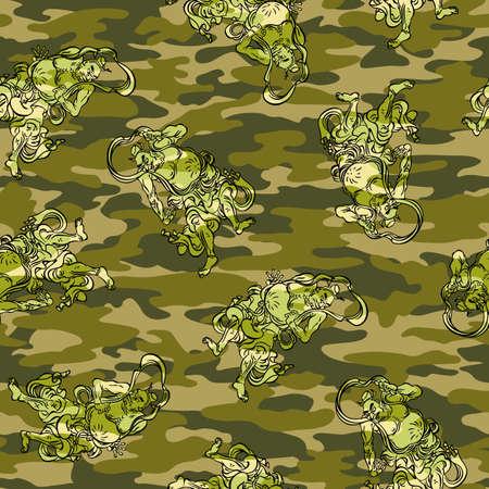 buddhist: Buddhist image camouflage pattern Illustration