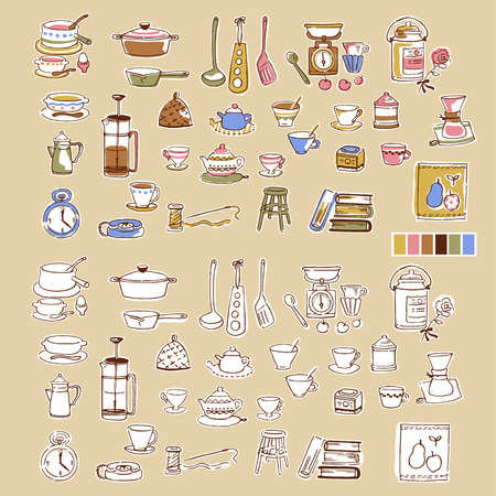 cooking time: Illustration of the tableware,