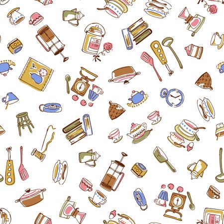 Illustration pattern of tableware,