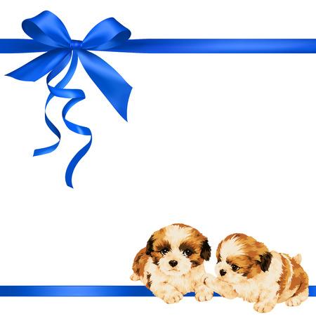 犬とリボンの装飾