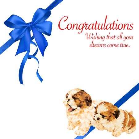 amiability: Decoration of dog and ribbon