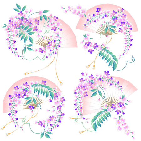 Design of Japanese style wisteria