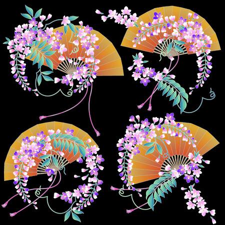 japanese style: Design of Japanese style wisteria