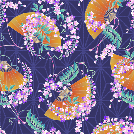 Japanese style wisteria pattern