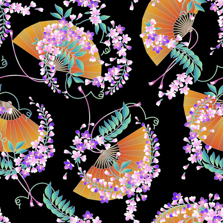 japanese style: Japanese style wisteria pattern
